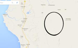 ကြာအင်းဆိပ်ကြီးမြို့နယ်၊ တောင်ပေါက်ကျေးရွာအုပ်စု(အဝိုင်းပြထားသည့်နေရာ)-Google map