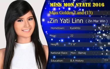 Miss Mon State ဇင်ရတီလင်း(ခေါ်) ဇင်မာဝင်း(Miss Mon State Facebook)