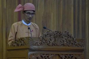 မွန်ပြည်နယ်ဝန်ကြီးချုပ် ဦးမင်းမင်းဦး မိန့်ခွန်းပြောကြားစဉ်(MNA)