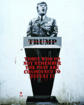 Pegasus's graphic comparing Trump to Adolf Hitler, from Artnet News.