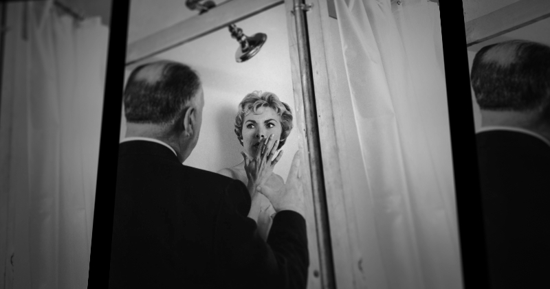 """Alfred Hitchcock directs Janet Leigh on the set of the 1960 film """"Psycho,"""" from the documentary """"78/52."""" (Sundance Selects)"""