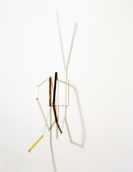 Al Taylor, <i>Distill</i>, 1988; wooden broomsticks with enamel paint and metal hook mounted on Formica laminate. Collection National Trust for Historic Preservation, Glass House Estate, New Canaan, Connecticut.