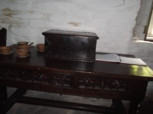 16th century bible box on table