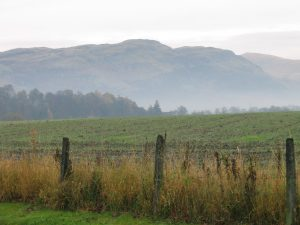 view across fields to the Ochils