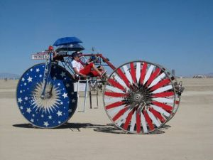 red white and blue bicycle car