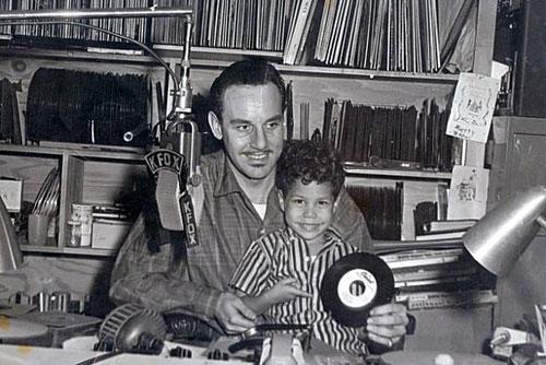 Johnny and Shuggie Otis in the KFOX studios c. 1956