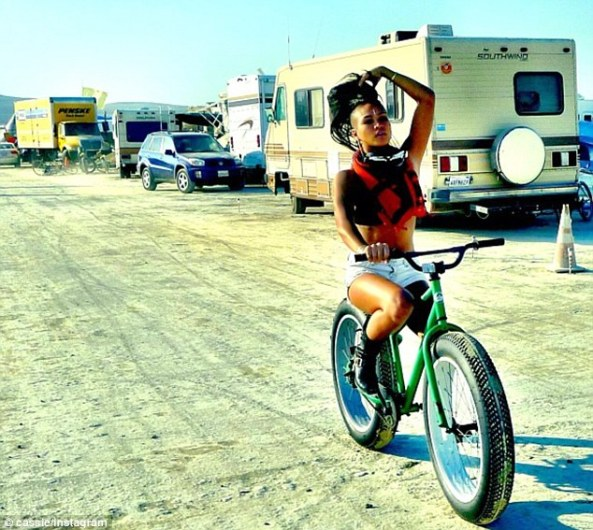Cassie riding on her phat bike