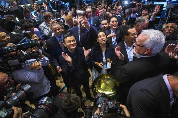 Jack Ma looking happy at the New York Stock Exchange.