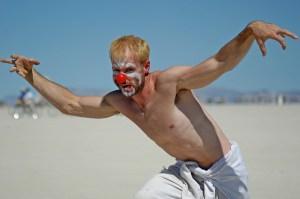 clown burning man