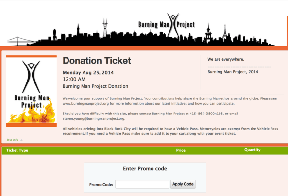 2014 donation ticket screen