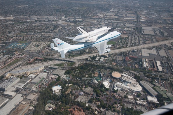 Space Shuttle Endeavour being carried to LA on a 747. Image: Nasa HQ / Flickr (Creative Commons)