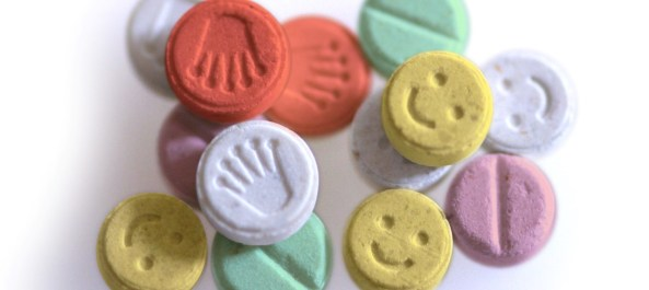 E Ecstasy pills or tablets close up studio shot methylenedioxymethamphetamine. Image shot 2004. Exact date unknown.