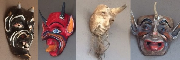 Masks in the Cibolo Creek hunting lodge, where Bohemian Grove spin-off the Order of St Hubertus hosted Burning Man-connected Judge Antonin Scalia's mysterious demise. Image: Wayne Madsen Report, via Fellowship of the Minds