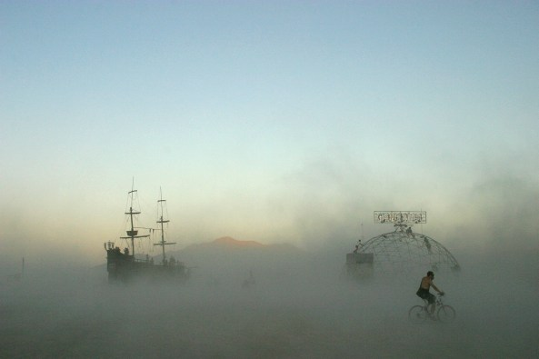 Erika Rand - La Contessa and Thunderdome in a Dust Storm, Burning Man, 2005