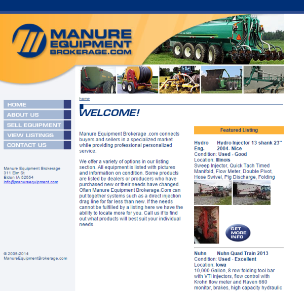 Manure Equipment Brokerage - Iowa Code Charge Studio PHP programming