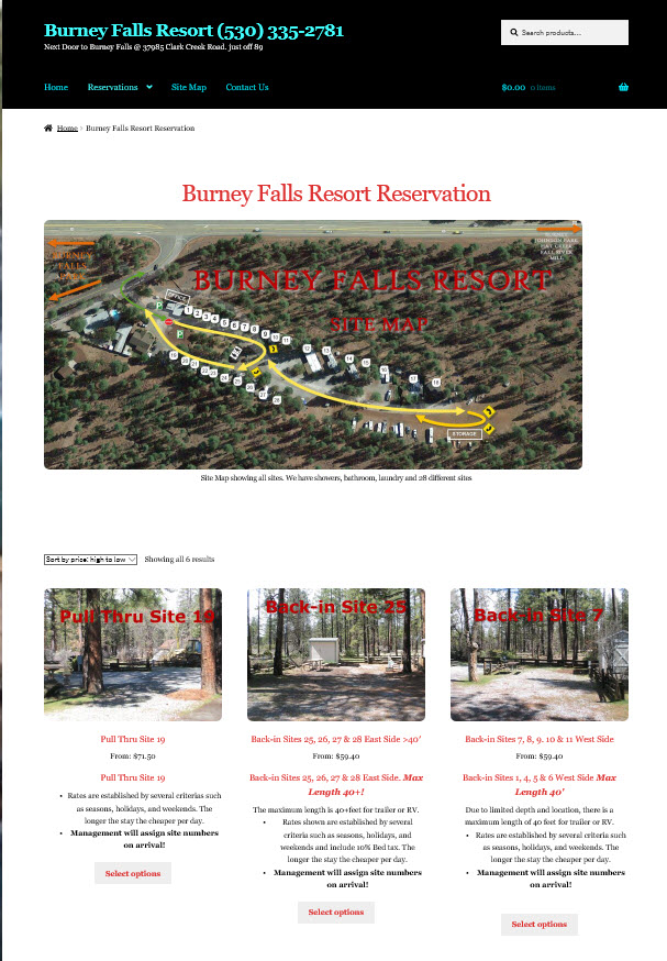 Reservations for Burney Falls Resort
