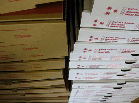 Roberta's pizza boxes primed and ready to adopt the Papa John's business model