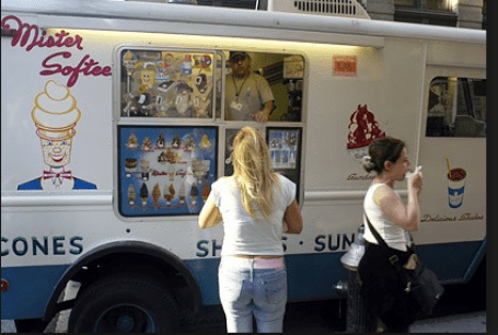 "Some parents wait in front of the Mister Softee truck for ""ice cream"""