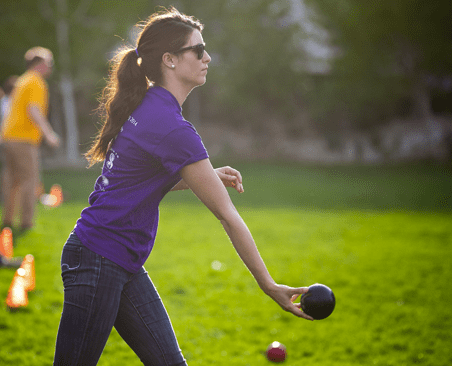 Anorexia Nervosa caught in a rare moment with a normal bocce ball