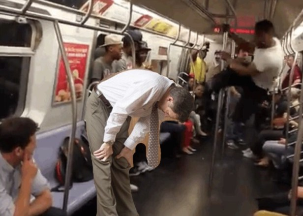 Aftermath of man getting kicked in crotch