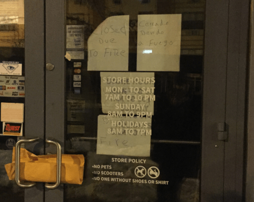 Cryptic sign announcing closure of City Fresh