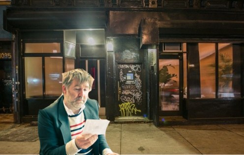 James Murphy of LCD Soundsystem reading an open letter to The Narrows in front of no one urging them to widen their entryway