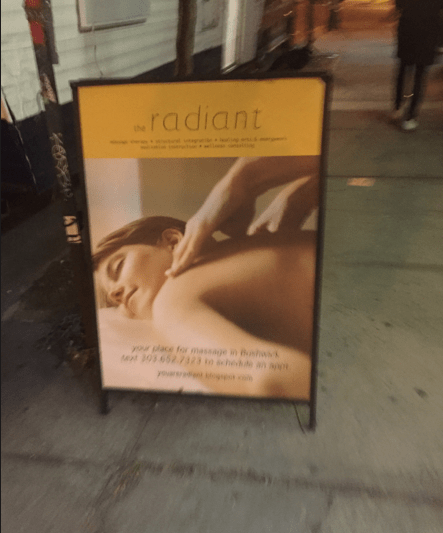 The Radiant's enticing sandwich board