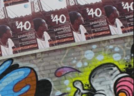 AT&T ads amid graffiti