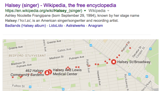 Now, Halsey the singer comes up before Halsey the area on Google