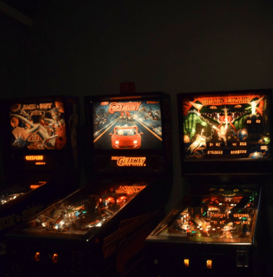 The collection of pinball machines at Milo's Yard