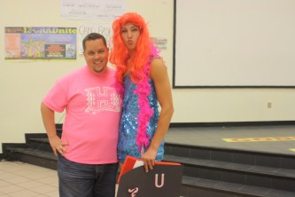 """My cute husband with """"his"""" senior. He really rocked that Ariel wig, hm?"""