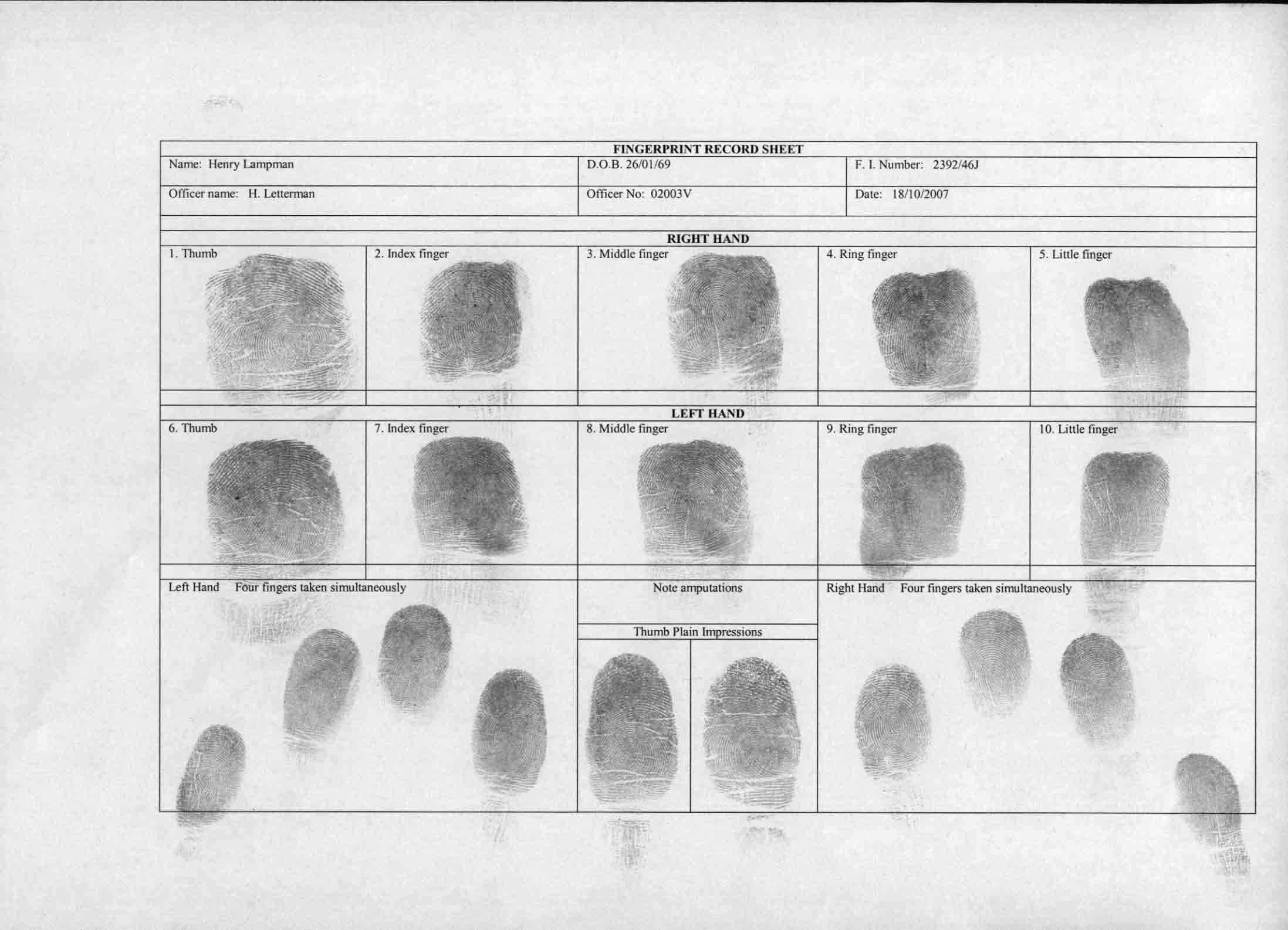 Fingerprint Profile Henry Lampman