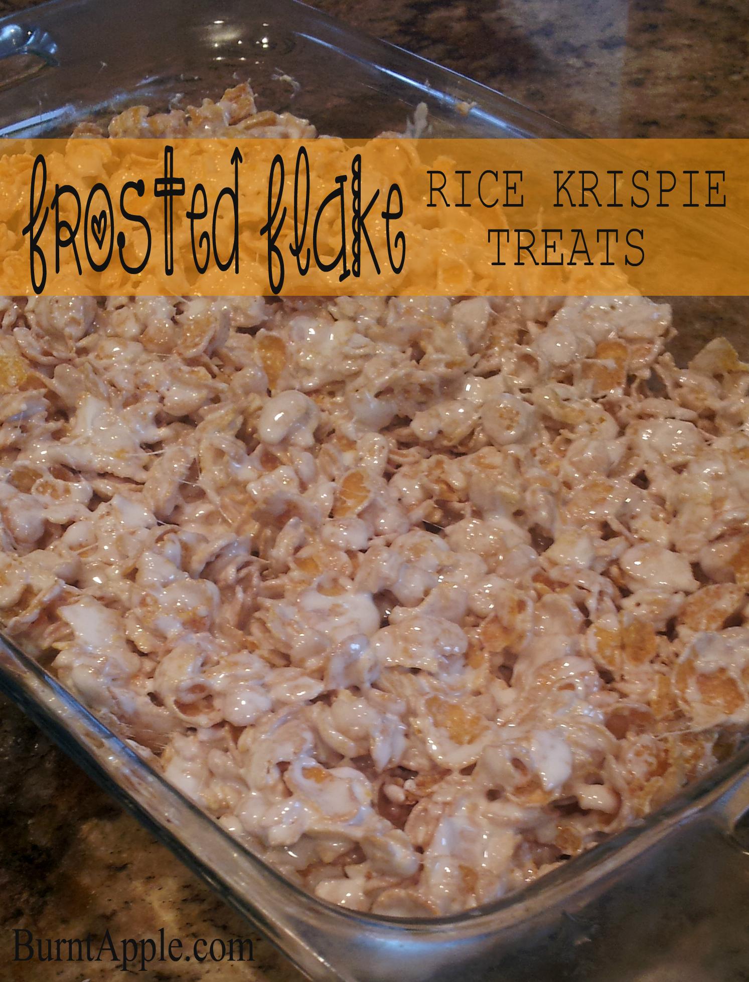 Frosted Flake Rice Krispie Treats Burnt Apple