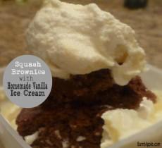 squash brownies vanilla ice cream