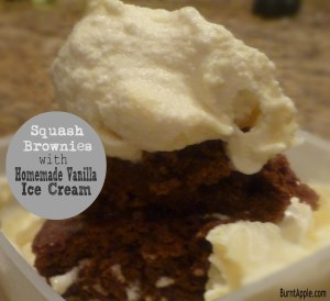 Squash Brownies with Vanilla Ice Cream