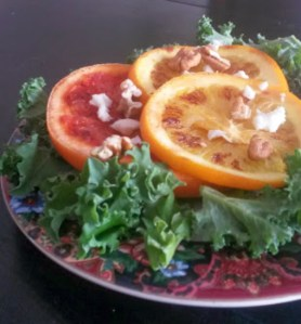 Grilled Citrus Kale Walnut Salad