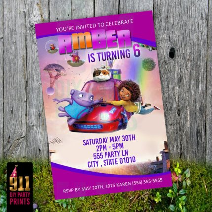 dreamworks home birthday party invitations