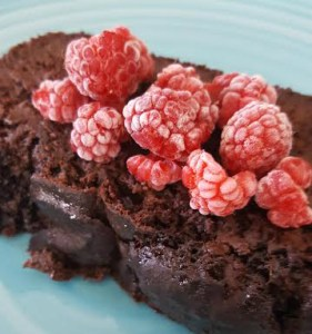 Double Chocolate Zucchini Bread with Frosted Raspberries