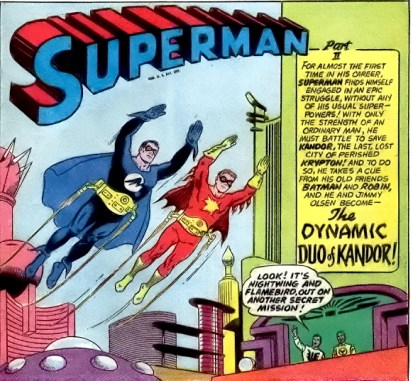 "Superman and Jimmy as ""Nightwing and Flamebird"", in Superman #166 (January 1964)."