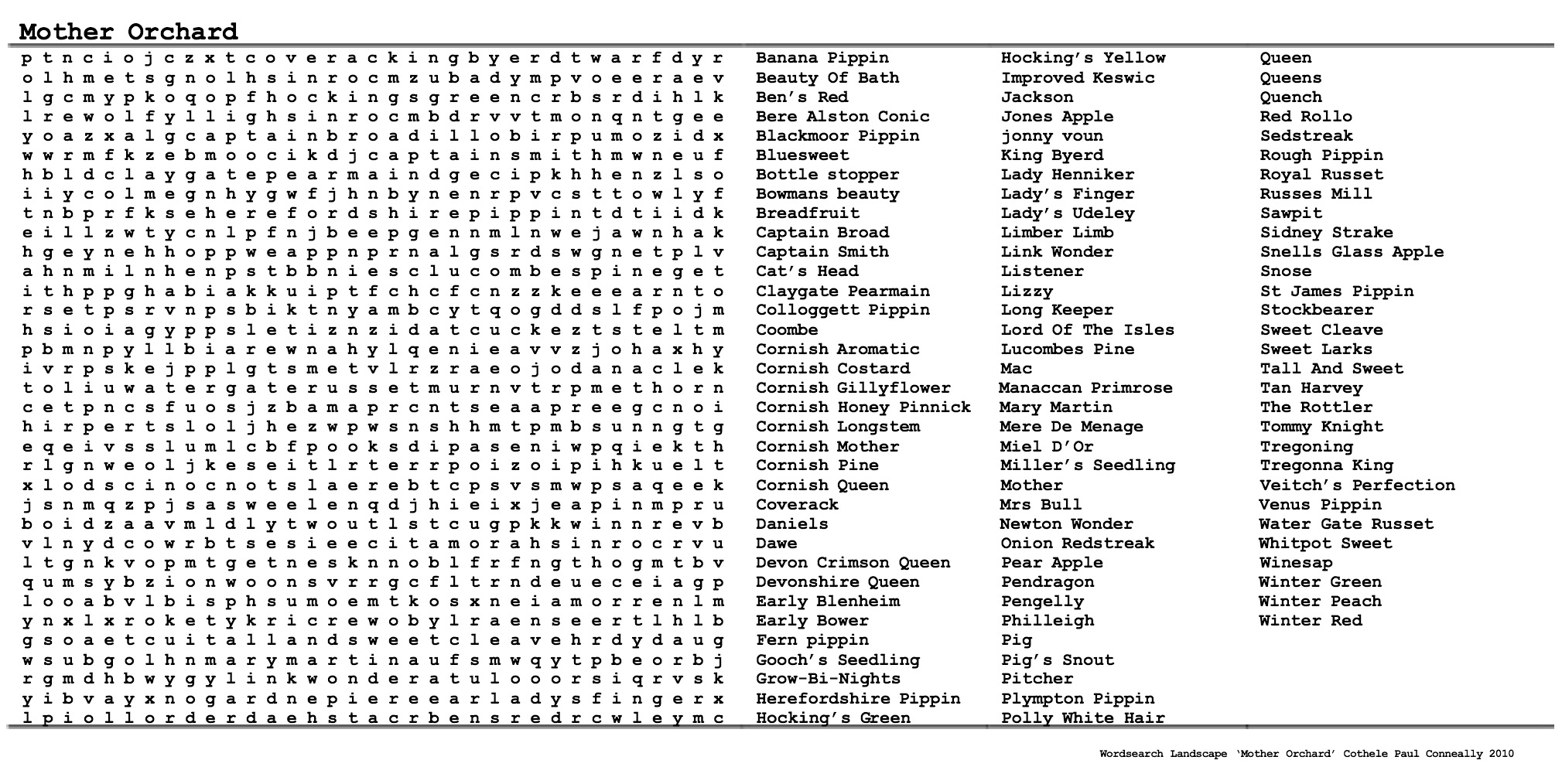 Mother Orchard Wordsearch Landscape