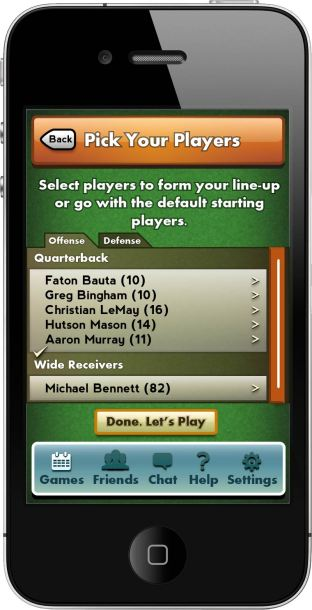 Turner Sports -Overtime Football - Pick Your Players