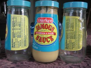 Durkee's jars through the decades. Click for a larger version to read the ingredient lists.