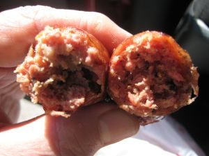 Identical sausage twins in Lockhart, Texas. Kreuz is on the left (I think.)