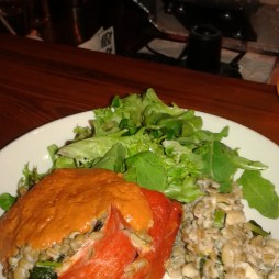 Roasted pepper stuffed with barley, white beans, cashew cream and dill