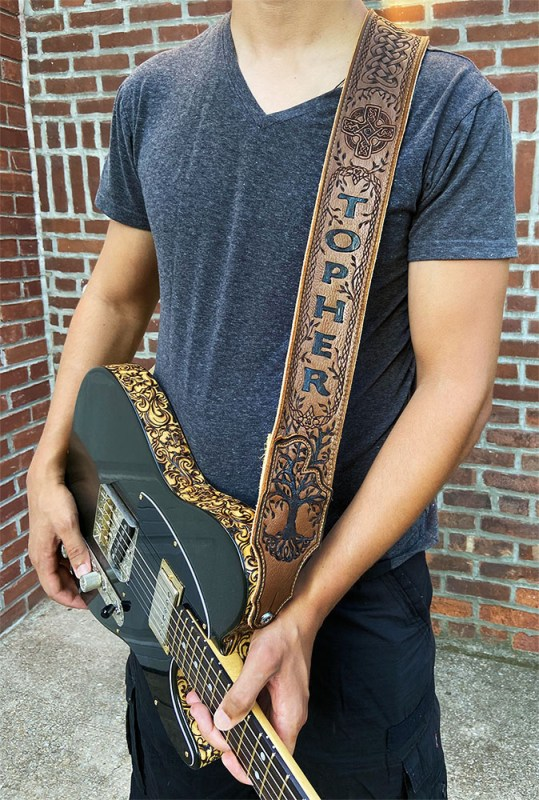 """BurnWizard Intricate """"Tree of Life"""" Celtic Cross & Cable Braid Leather Guitar Strap"""