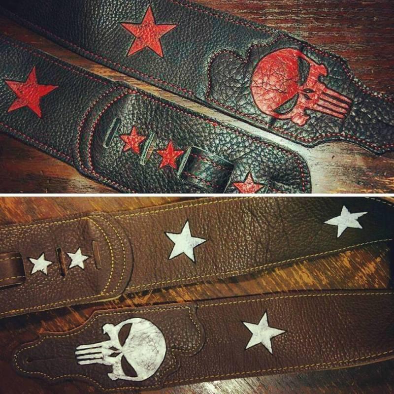 BurnWizard punisher star guitar strap custom burnmethod