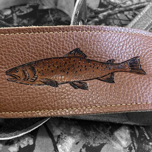 fly flishing custom guitar strap leather burnwizard trout