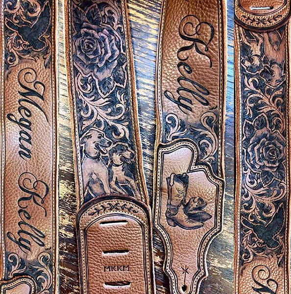 burnwizard-paisley-rose-dog-pet-portrait-cowboy-boots-western-scrollwork-leather-guitar-strap
