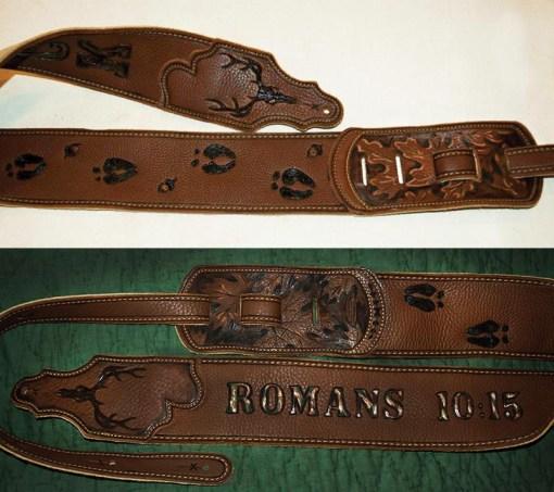 BurnWIzard custom camo deer hunt guitar strap Romans 10:15