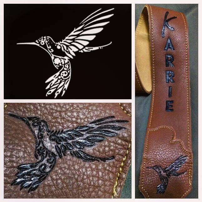 Burnwizard hummingbird drawing to leather engraving guitar strap